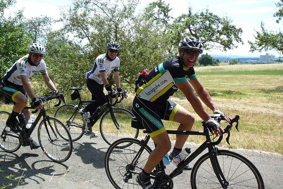 fröhliche Radfahrer