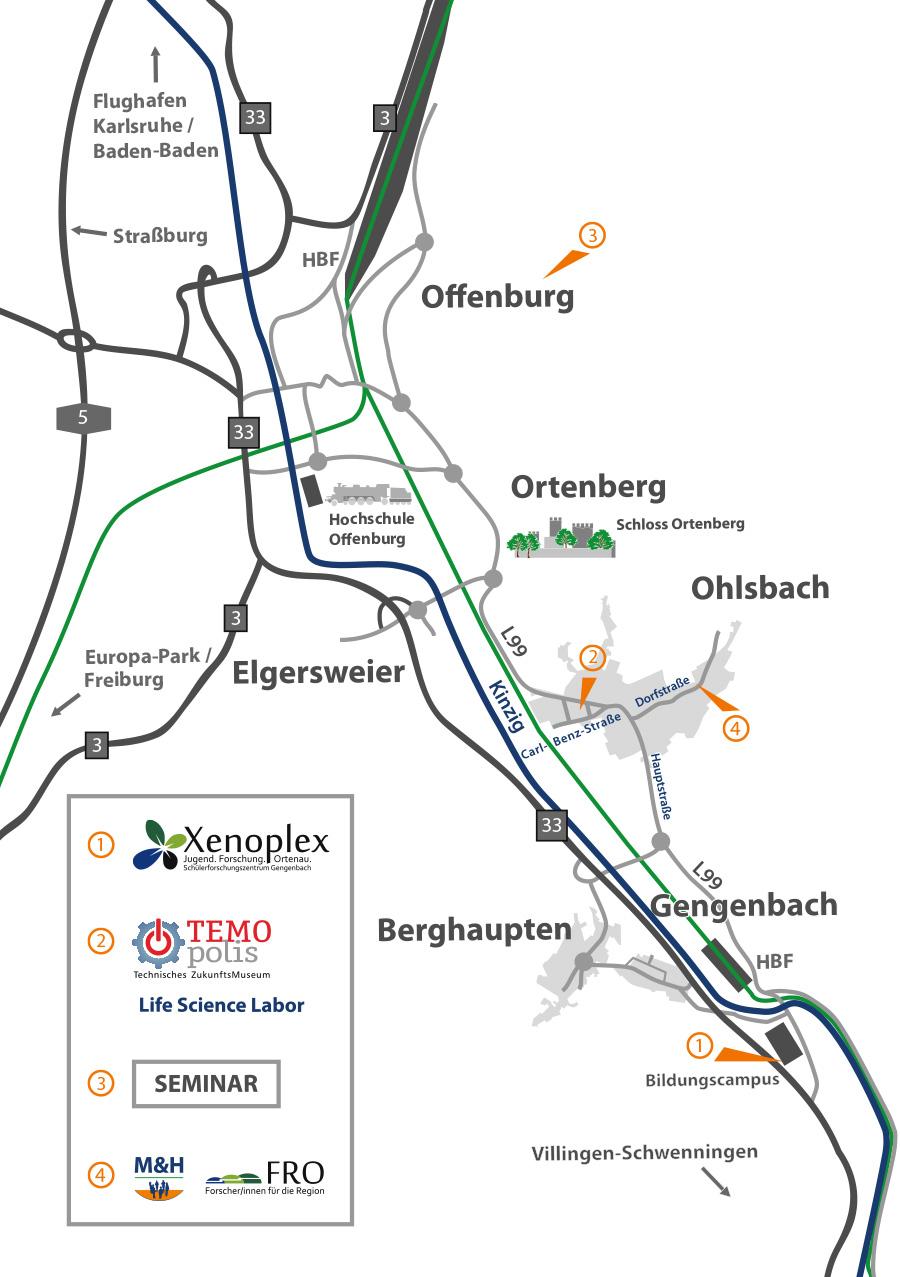 Kartenansicht der Ortenau - M&H - FRO - Temopolis - Xenoplex